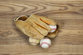 Old Baseball Gear on aged wood  — Stock Photo