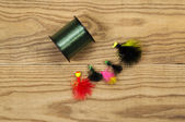 Spool of Fishing Line with Lures — Stock Photo