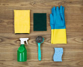 House Cleaning Materials on Age Wood  — Stock Photo