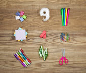 Office Supplies on Aged Wood  — Stock Photo