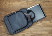 Personal weapon with Laptop computer and carry case  — Stock Photo