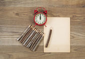 Old Office Materials on Rustic Wood  — Foto Stock