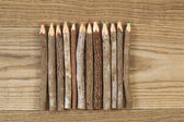 Vintage Pencils placed on Rustic Wood — Stock Photo