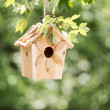 New Wooden Birdhouse hanging on tree branch outdoors  — Stock Photo #48421637