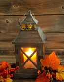 Traditional Asian Lantern Glowing Brightly with autumn Decoratio — Stock Photo