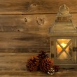 Traditional Asian Lantern Glowing Brightly with natural pine con — Stock Photo #48766919