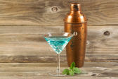 Freshly made Mixed Drink with Mint on Weathered Wood  — Stock Photo