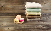 Spa Cleanse Accessories on Weathered wood — Stock Photo