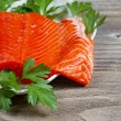 Fresh Fillet of Sockeye Salmon with parsley  — Stock Photo #49017455