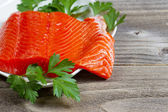Fresh Fillet of Sockeye Salmon with parsley — Stock Photo