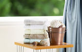 Spa accessories in front of Open Window  — Stock Photo