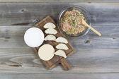 中国の餃子を作るための原料 — ストック写真