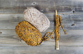 Knitting Materials on Rustic Wood  — Foto Stock