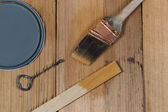 Staining untreated Cedar wood with natural stain  — Stock Photo