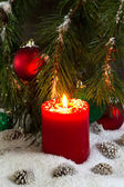 Burning red Candle during the holidays  — Stock Photo