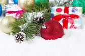 Red Ornament with Christmas Background  — Stock Photo
