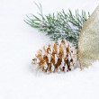 Golden Pine Cone with Ribbon and Fir Branch on snow — Stock Photo #50227369