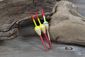 Fishing Floats on Driftwood  — Stock Photo