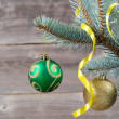 Ornaments and ribbon hanging on Blue Spruce Tree Branch — Stock Photo #51397935