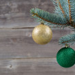 ������, ������: Holiday Ornaments hanging from Blue Spruce Tree Branch