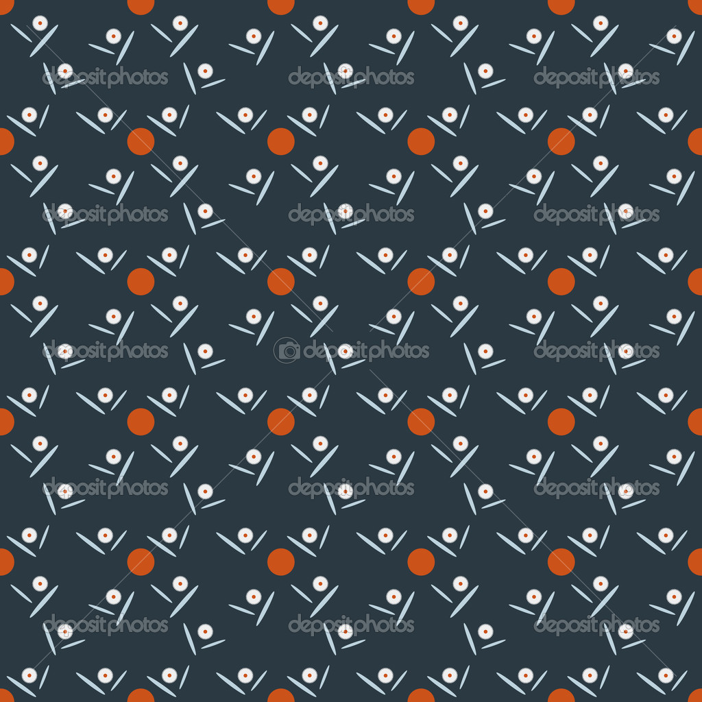 Seamless pattern of daisies and orange circles on dark background  — Stock Vector #12747868