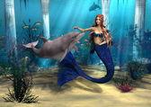 Mermaid and Dolphin — Stock Photo