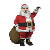 Waving Santa with Christmas Gifts — Stockfoto