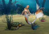 Mermaid und Turtle — Stock Photo
