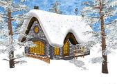 Cabaña de invierno — Foto de Stock
