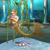 Little Mermaid holding Anemone Flower — Stock Photo