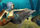 Mořská panna a dolphin — Stock fotografie