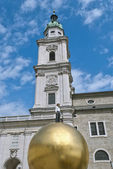 Man on Golden Sphere in Salzburg — Stock Photo