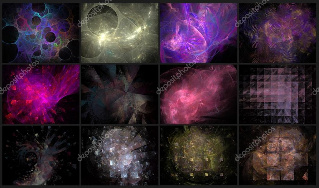Set of 12 beautiful abstract fractal backgrounds  Stock Photo #12796782