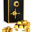 Safe with gold coins and gold bars - Stock Photo