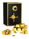 Safe with gold coins and gold bars — Stock Photo