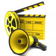Stock Photo: Movie clapper and film strip