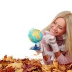 Woman take globe in hands — Stock Photo #12187010