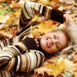 Woman portret in autumn leaf — Stock Photo #12314788