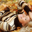 Woman portret in autumn leaf — Stock Photo #12314798