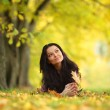 Woman portret in autumn leaf — Stock Photo #12314990
