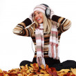 Autumn woman listening music — Stock Photo