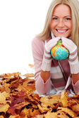 Woman take globe in hands — Stock Photo