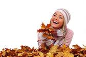 Mujer otoño en estudio — Foto de Stock