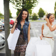 Stock Photo: Two woman after shopping