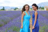 薰衣草田地上的两个女人 — 图库照片