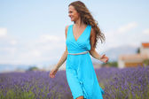 Woman on a lavender field — Stock Photo