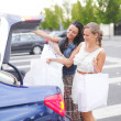 Two woman after shopping - Stockfoto