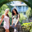 Two women over park background — Stock Photo