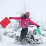 Winter girl jump — Stock Photo #13159506