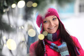 Woman and bokeh — Stock Photo
